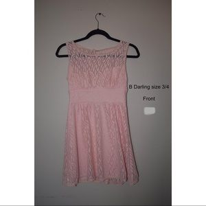 pink formal lace dress